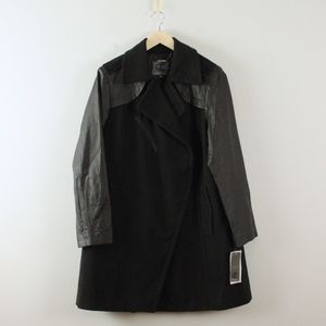 Queen Collection Jackets & Coats - Queen Collection Leather and Felt Long Coat